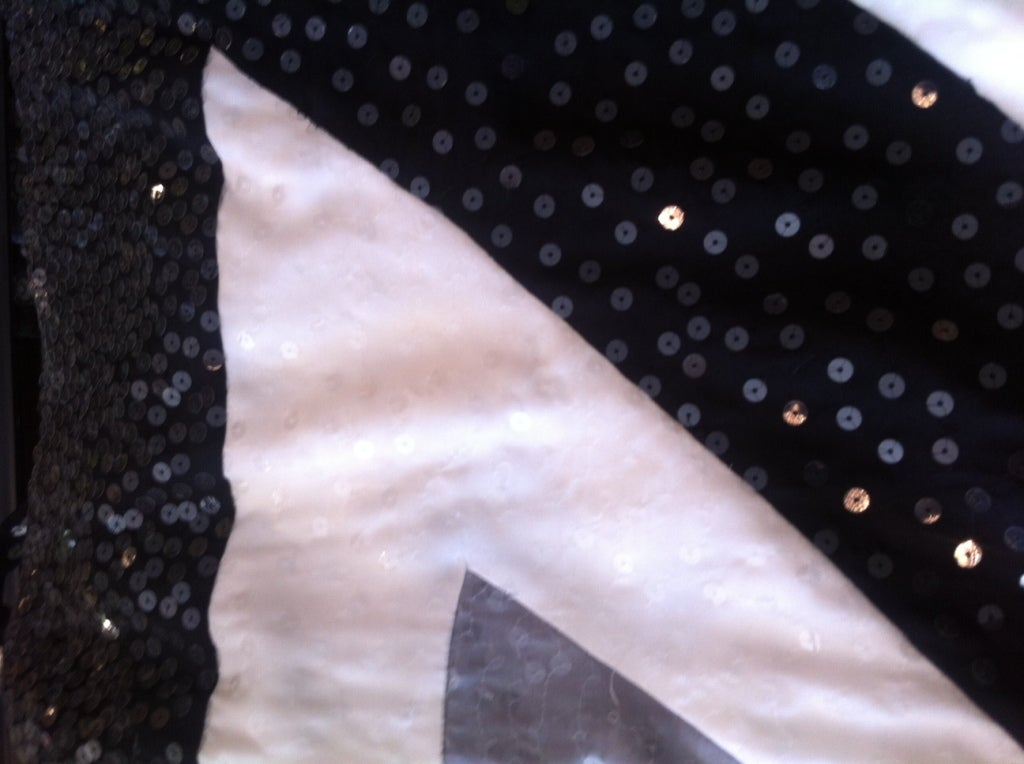 Vintage Givenchy black and white sequin spaghetti strap silk dress 4