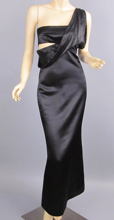 90s Gianni Versace black silk cut out  gown 2