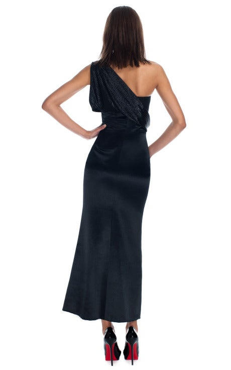 90s Gianni Versace black silk cut out  gown 4