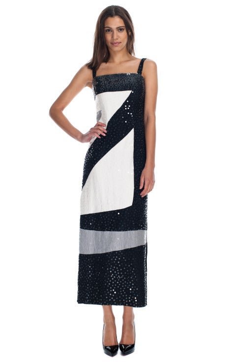 Vintage Givenchy black and white sequin spaghetti strap silk dress 2