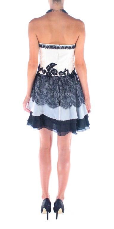 Vintage Christian Lacroix Creme and Black Strapless Silk Lace Cocktail dress For Sale 3