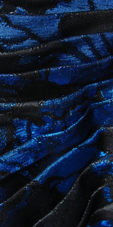 Purple 1980s UNGARO cobalt blue silk brocade mermaid gown For Sale