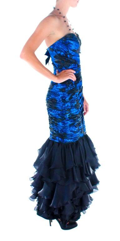 Women's 1980s UNGARO cobalt blue silk brocade mermaid gown For Sale
