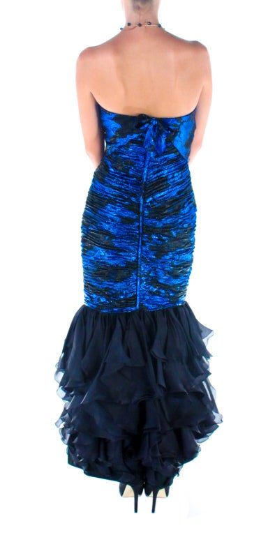 1980s UNGARO cobalt blue silk brocade mermaid gown For Sale 1