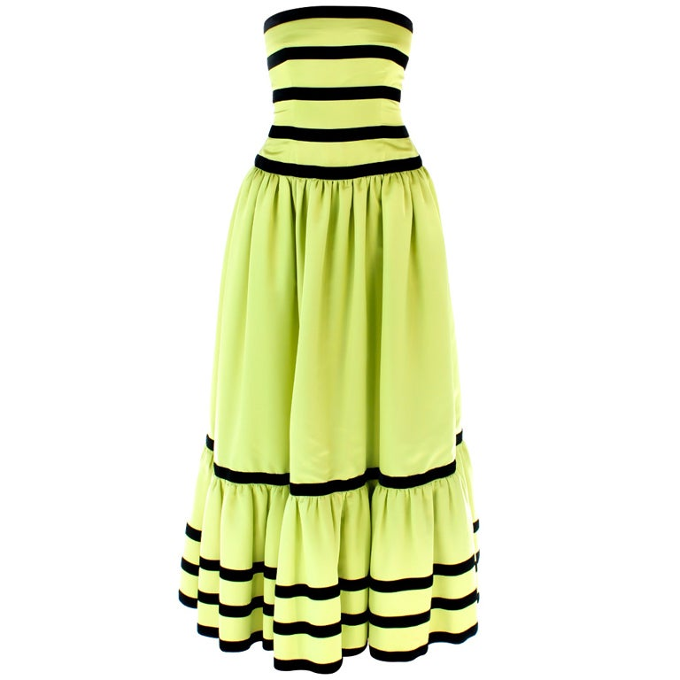 Vintage Oscar De La Renta Lime Green and Black Velvet Stripe ...