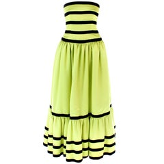 Vintage  Oscar De La Renta Lime Green and Black Velvet Stripe Strapless Gown