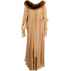 70s STAVROPOULOS  silk gown with fox collar