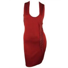 1990s KRIZIA red knit dress with tassel beads