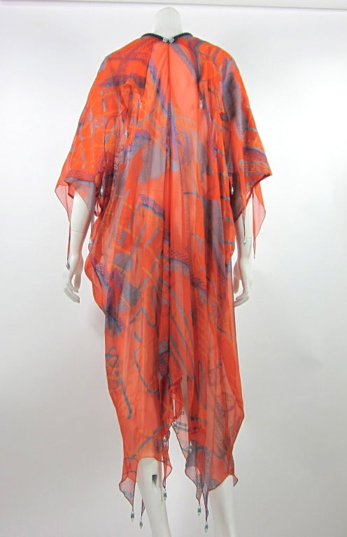 """ZANDRA RHODES  caftan from spring 1976 """"The Mexican Collection"""". In Good Condition For Sale In Beverly Hills, CA"""