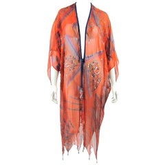 1970s Zandra Rhodes Orange Print Silk Caftan and Jersey Dress