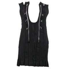 JEAN PAUL GAULTIER black pinstripe hardware dress