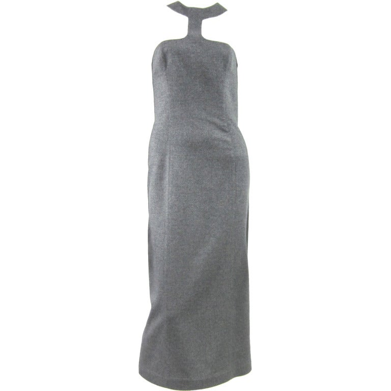 Thierry Mugler Vintage Grey Cut Out Sheath Dress, 1990s