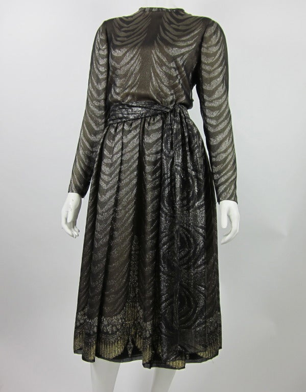 1980s PAULINE TRIGERE bronze metallic silk dress 2