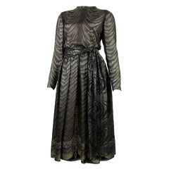 1980s PAULINE TRIGERE bronze metallic silk dress