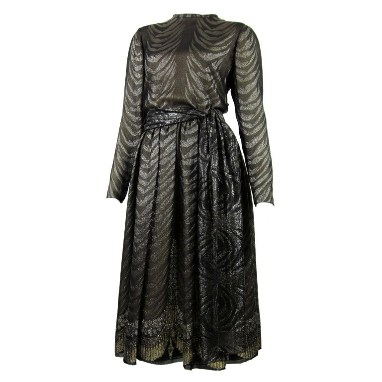1980s PAULINE TRIGERE bronze metallic silk dress 1
