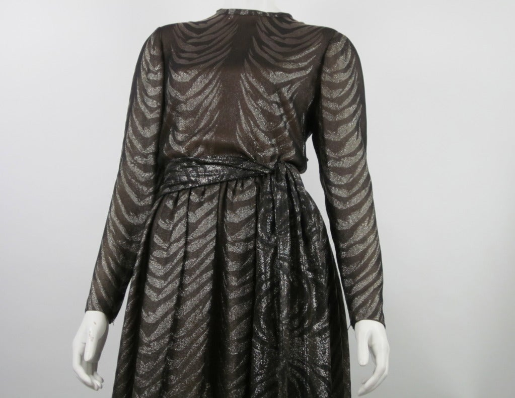 1980s PAULINE TRIGERE bronze metallic silk dress 3