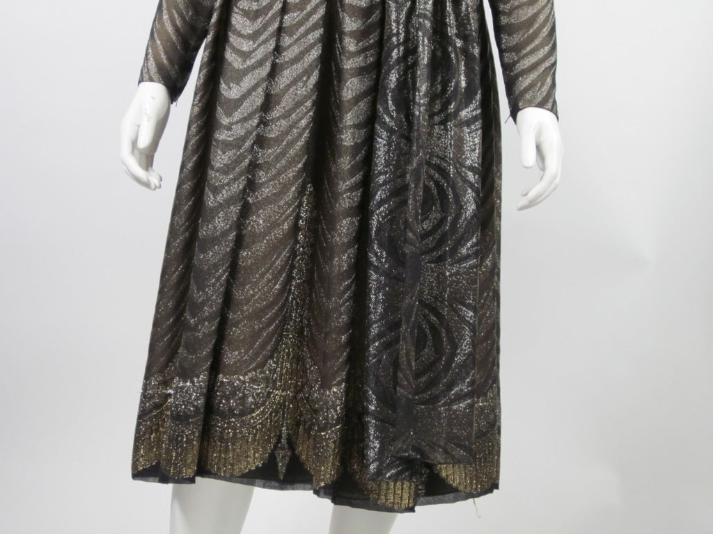 1980s PAULINE TRIGERE bronze metallic silk dress 4