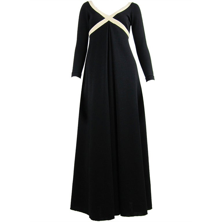 1970s Rudi Gernreich black and creme knit dress