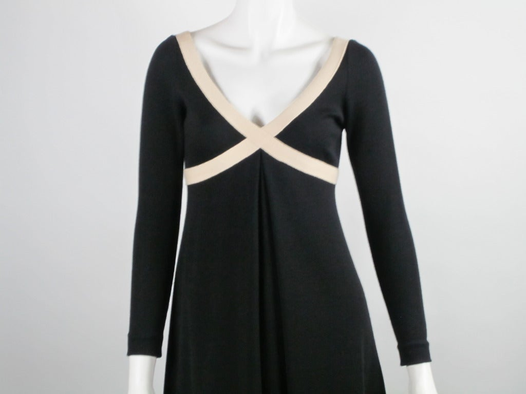 1970s Rudi Gernreich black and creme knit dress 2