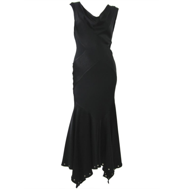 Vintage  1990s John Galliano Black Bias Cut Silk Charmeuse Gown For Sale