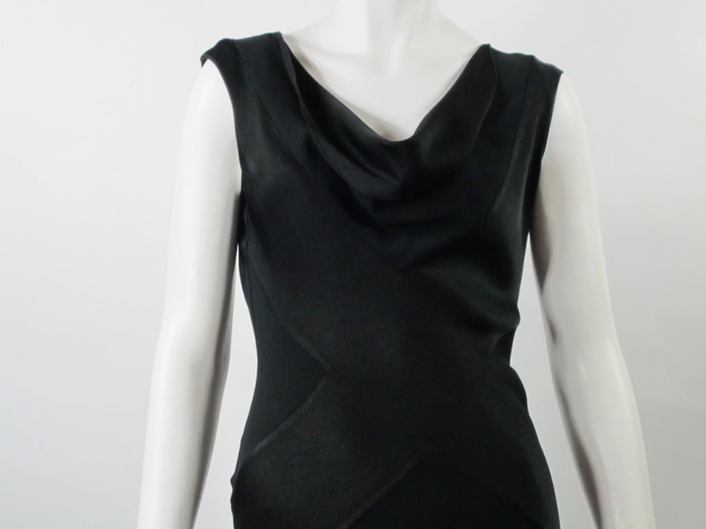 Vintage  1990s John Galliano Black Bias Cut Silk Charmeuse Gown For Sale 1
