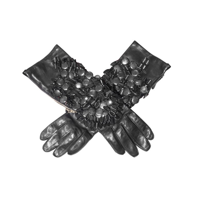 Christian Lacroix Metal Embellished Gloves At 1stdibs