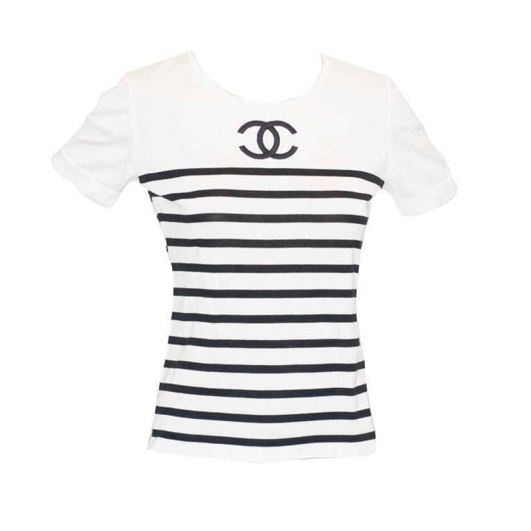 Chanel Cc Logo Striped Tee Shirt At 1stdibs