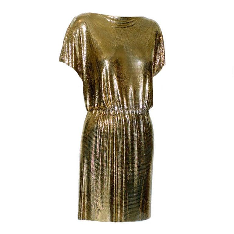 1982 Gianni Versace Metal Mesh Oroton Toga Style Dress At