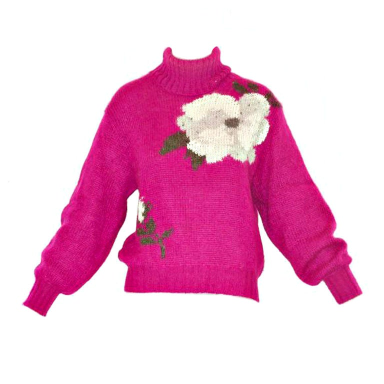 Halston Mohair Sweater with Large Flowers at 1stdibs