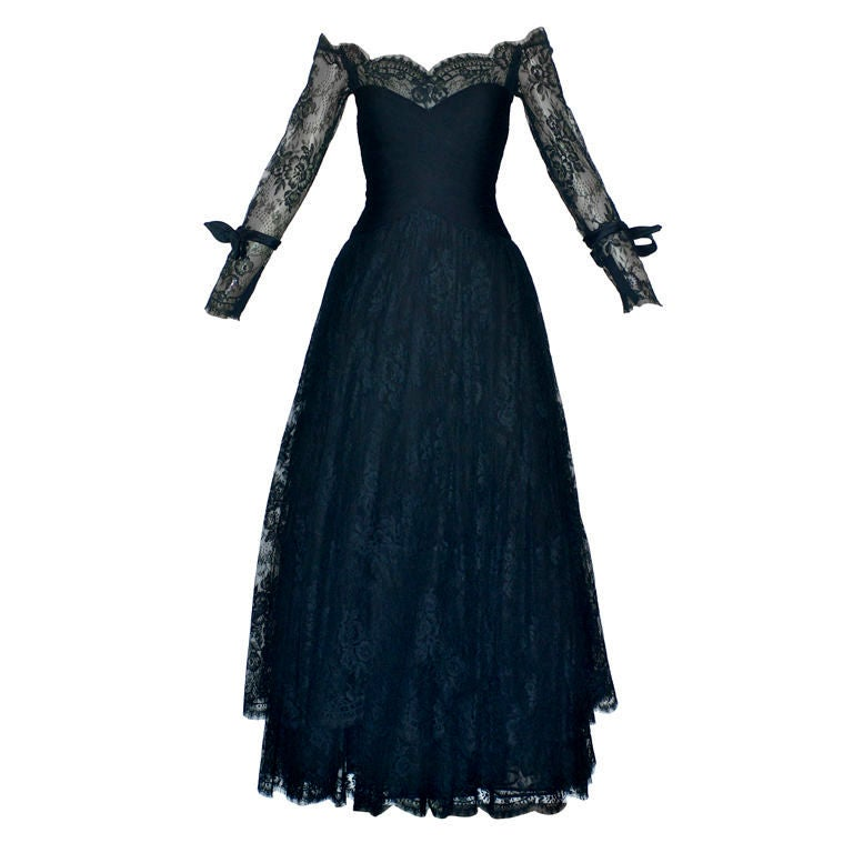 Valentino Couture Ruched Black Lace Gown at 1stdibs
