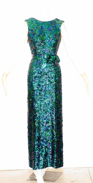 Exceptional 1968 Norman Norell Silk Sequin Gown image 2