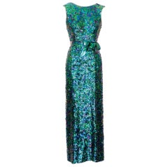 Exceptional 1968 Norman Norell Silk Sequin Gown thumbnail 1