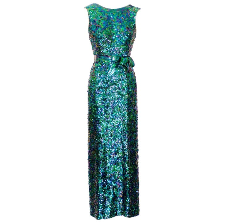 Exceptional 1968 Norman Norell Silk Sequin Gown