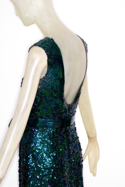 Exceptional 1968 Norman Norell Silk Sequin Gown image 3