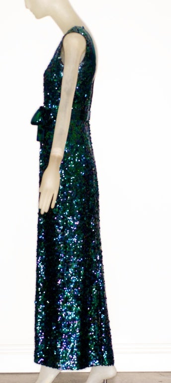 Exceptional 1968 Norman Norell Silk Sequin Gown image 7