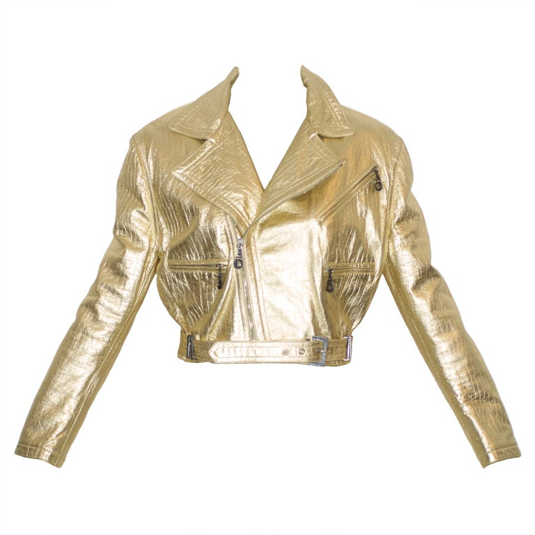 Gianni Versace Couture Gold Leather Jacket With Medusa