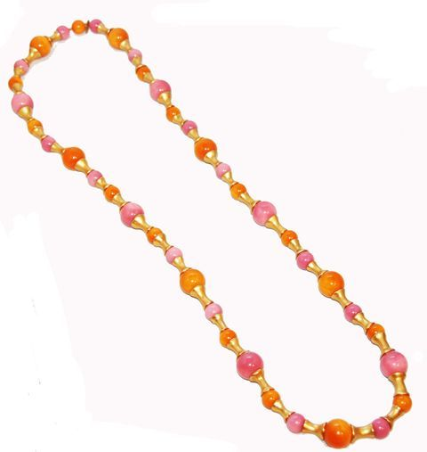 Just so unique, collectable and ideal for this summer! Chanel Necklace marked 1993 in excellent condition. Orange & Pink, gold elements in resin. Size: 90 cm - 35.5 in. Widest bead: 1.5 cm - 0.6 in.
