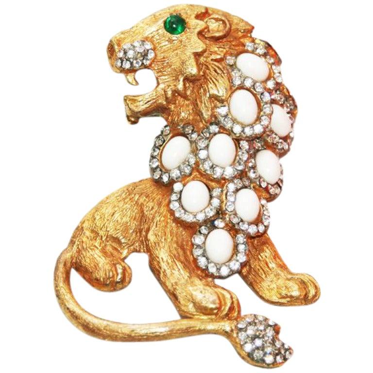 Spectacular KJL Lion Brooch 1960 1