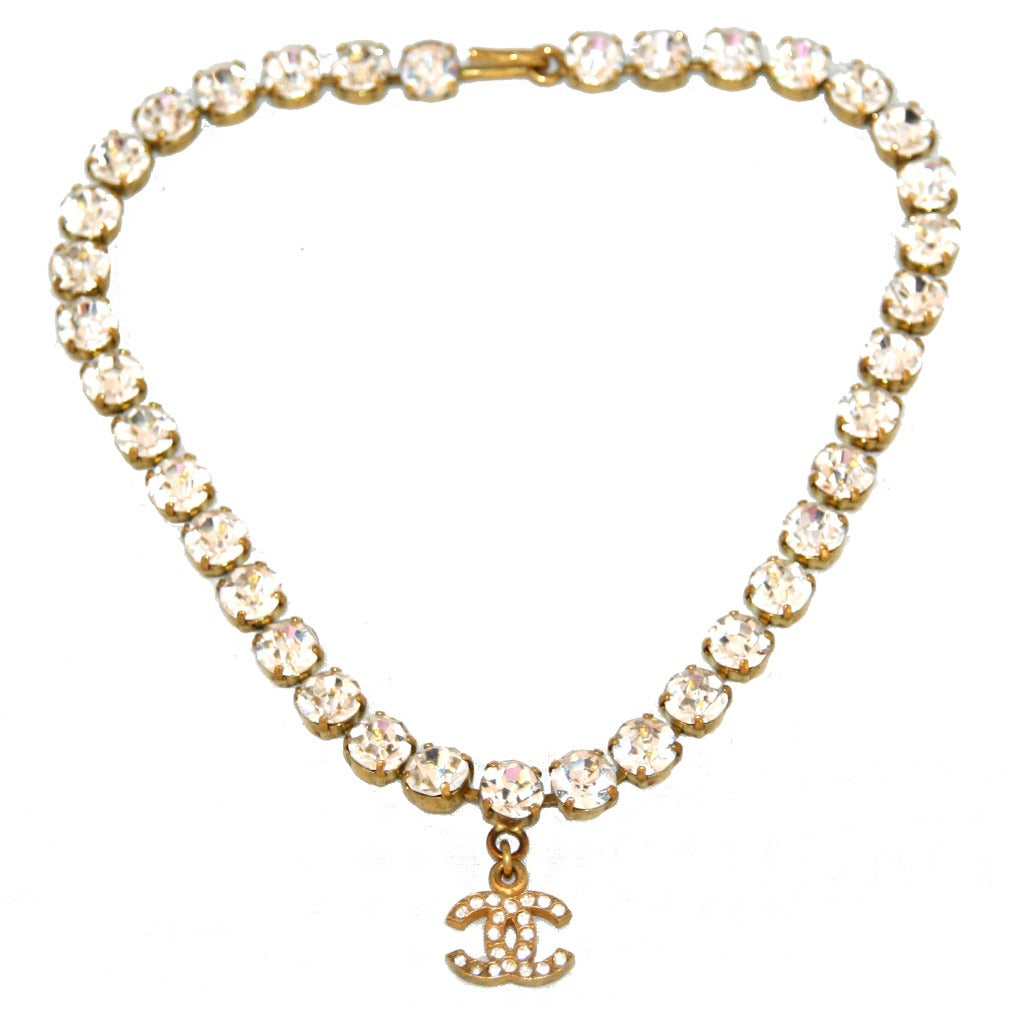 chanel necklace. crystal vintage chanel necklace 1995 2