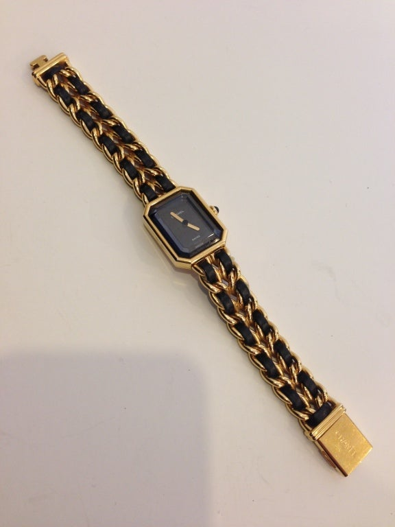 Chanel Gold And Black Chain Watch 2