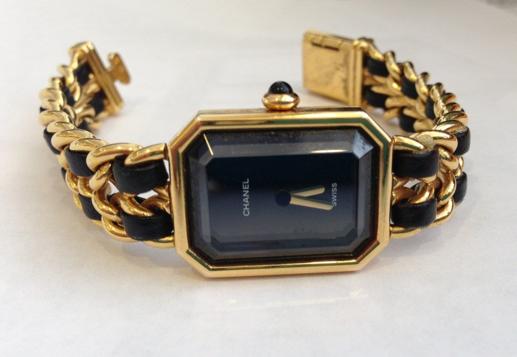 Chanel Gold And Black Chain Watch 3