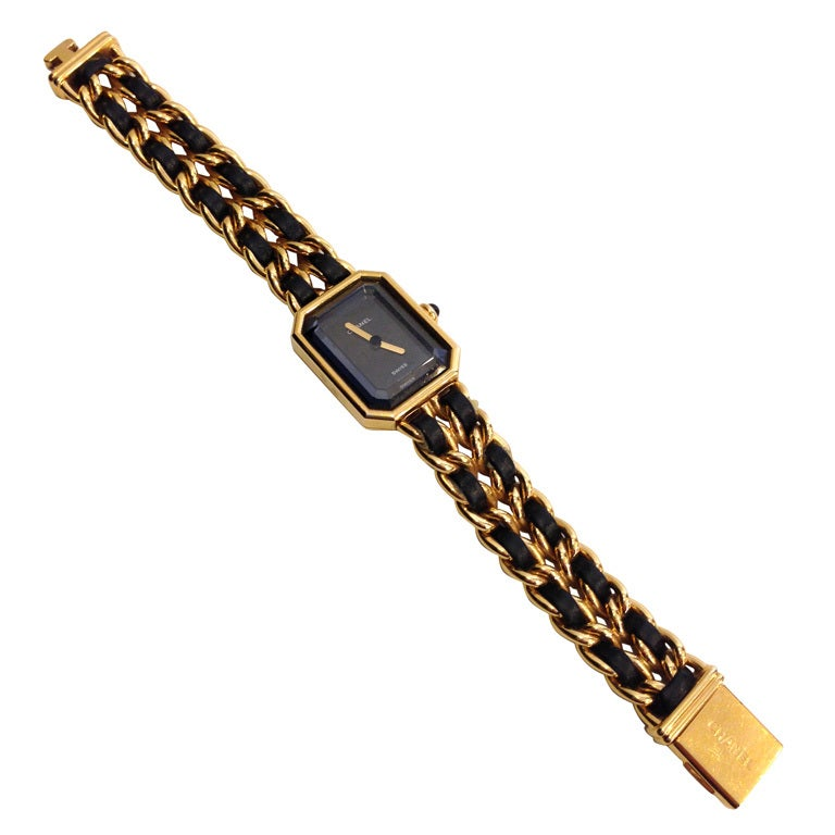 Chanel Gold And Black Chain Watch 1