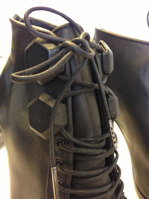 Givenchy Black Lace-up Heel Ankle Bootie 4