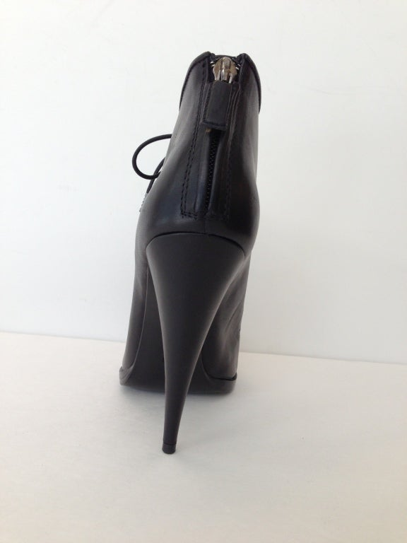 Givenchy Black Lace-up Heel Ankle Bootie 6