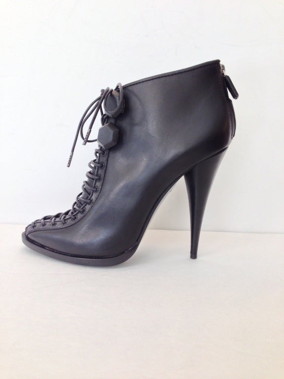 Givenchy Black Lace-up Heel Ankle Bootie 2