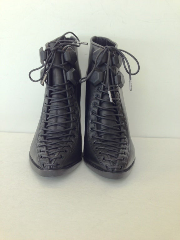 Givenchy Black Lace-up Heel Ankle Bootie 3