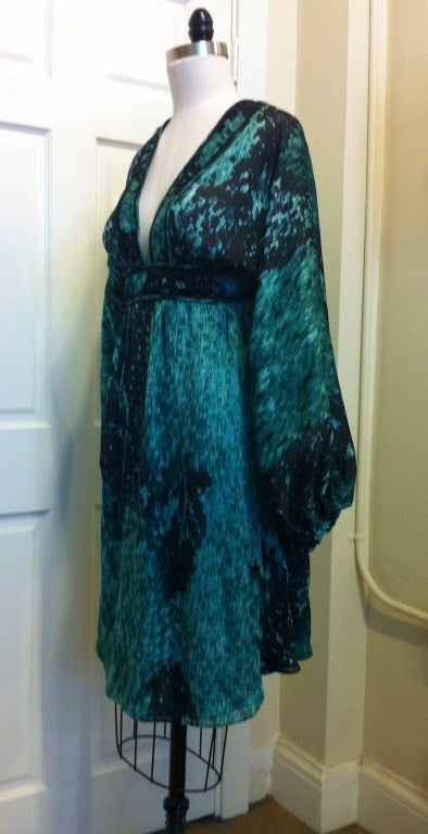 Roberto Cavalli Green And Black Summer Dress In New Never_worn Condition For Sale In San Francisco, CA