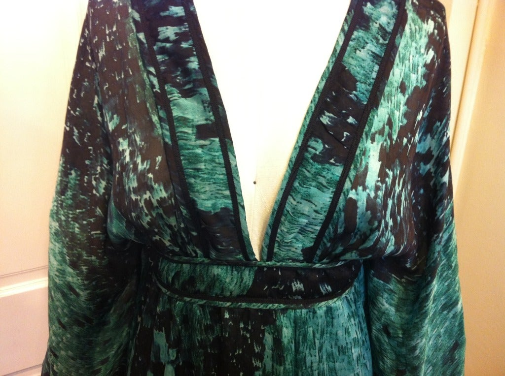 Women's Roberto Cavalli Green And Black Summer Dress For Sale