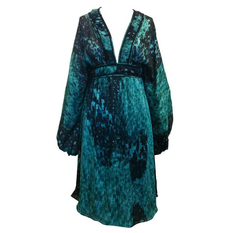 Roberto Cavalli Green And Black Summer Dress For Sale