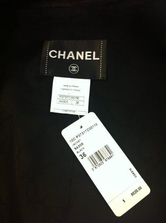 Chanel Cropped Black Leather Jacket image 10